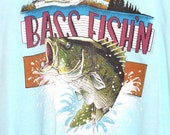 SALE Vintage Sky Blue 90s Bass Fishin T-Shirt