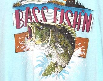 10 Dollar Tee SALE 90s Vintage Pastel Sky Blue 90s Bass Fishin T-Shirt