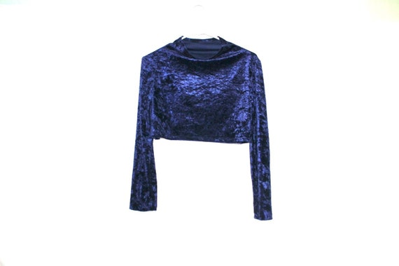 Royal Blue 90s Velvet Crop Top