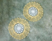 RESERVED LISTING Autumn Yellow Lace & Flower Crochet Doily Pair, Cottage Style Home Decor