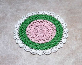 Island Decor Crochet Doily, Tropical Table Lace, Party Accent, Summer Fun, Watermelon Decor