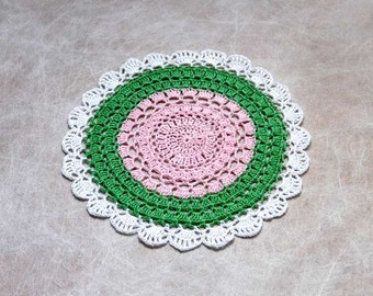 Boho Chic Crochet Doily, Pink, Green, White, New Table Decor, Mandala Style