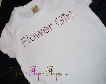Flower Girl Shirt, custom made in your colors in swarovski Crystal Rhinestones for the wedding
