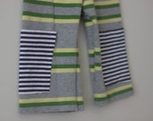 Long Shorts / Cropped Pants Unisex 5T Green yellow Grey Stripe Upcycle OOAK