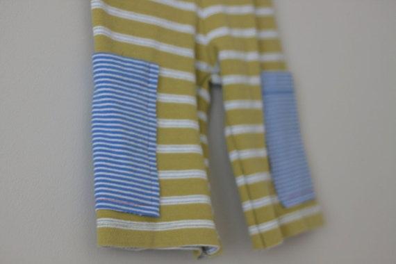 Short Pants / Long Shorts Unisex 2T Avocado Green and Blue Stripe Upcycle boys and girls OOAK Board Shorts Huck Finn Pants