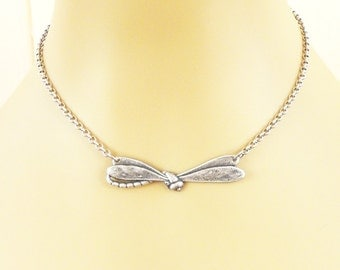 Steampunk Dragonfly Necklace- Sterling Silver Ox Finish