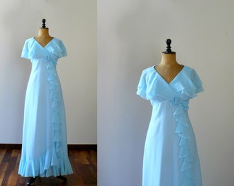 Vintage chiffon dress. Chiffon long gown. 1960s long dress. bridesmaid wedding dress