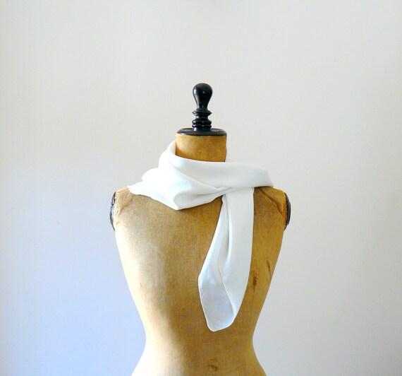 Vintage silk scarf. white crepe silk scarf. wedding silk shawl