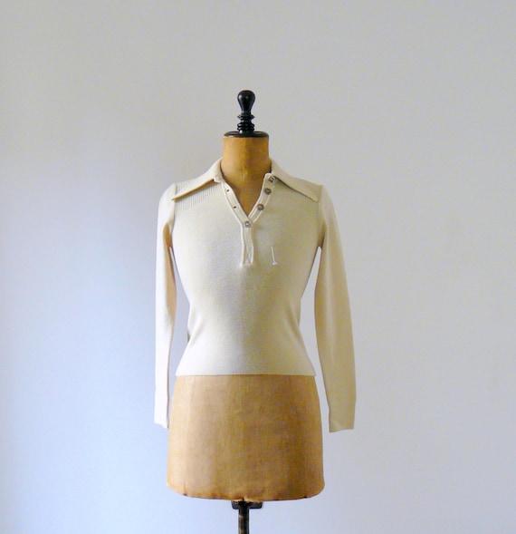 Vintage 1970s deadstock cream wool sweater