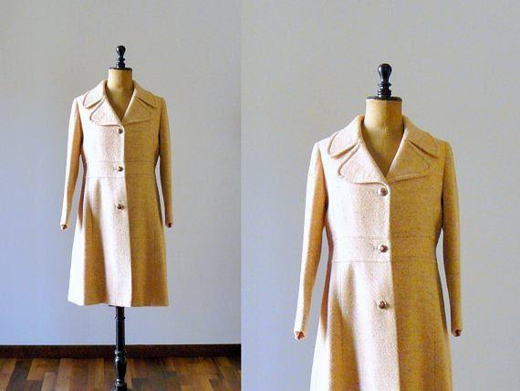 Vintage 1960s coat. 60s tweed coat. 60s orange outerwear