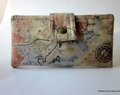 Handmade women wallet Old world  Map ID clear pocket Ready to ship