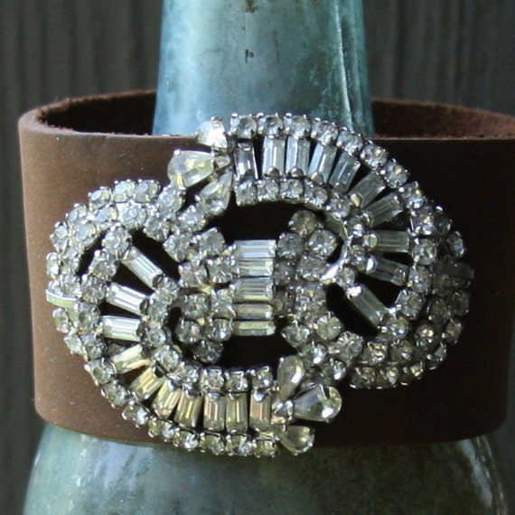weiss vintage rhinestone buckle leather cuff bracelet