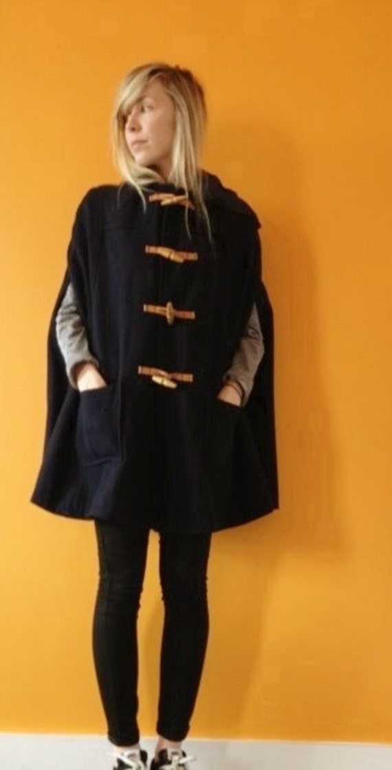 RESERVED . navy oversized duffle cape coat (s-m)