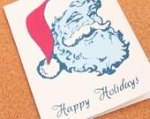 Happy Holidays Santa 3 Color Screen Print Blank Card