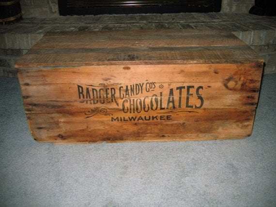Antique Wooden Chocolate Candy Shipping Crate Box Badger