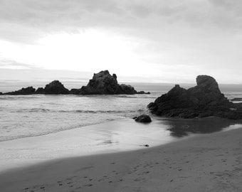 Beach Photography-Black and White-Seascape-Original photograph-Beach-Ocean-Rocks-8x10