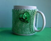 Knitted Mug Cozy - Blue Green Ombre with Green Sequin Heart