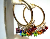 Chandalier Earrings 14kt Gold One of a Kind Handmade by Lisajoy Sachs Design Size Large Hoop Perfect for a Gift Fashion Style One of a Kind