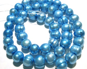 Beautiful Sky Blue Fresh Water Cultured Pearls Side Drilled Organic Shape Wedding Pearls Necklace Designer Jewelry One of a Kind Beads Bead
