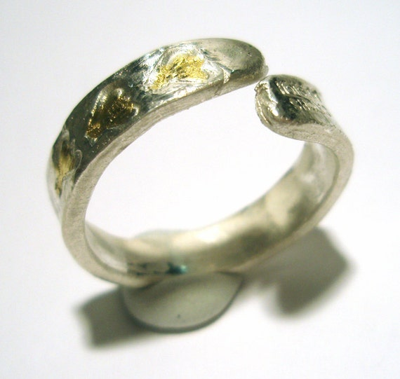 Fine Silver Gold Ring Honey Bee Stamped Adjustable Band Recycled Silver Gold One Of A Kind Handmade by Lisajoy Sachs PMC - Silver Clay
