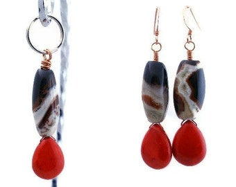 Big n' Bold - owner & pet matching Jewelry Set, repurposed agate earrings and dog collar charm, best friends, BFF, friendship