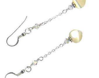 8mm heart earrings on chain mother-of-pearl