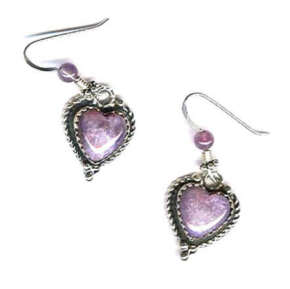 18mm lepidolite sterling heart earrings