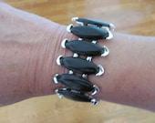 Vintage Black Navette Thermo Plastic and Silver Tone Bracelet