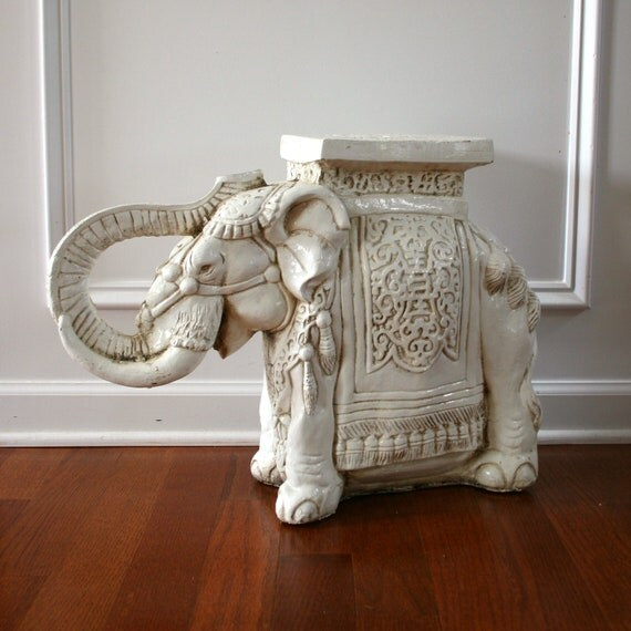 Elephant Table White End Sidetable Plant By Rhapsodyattic
