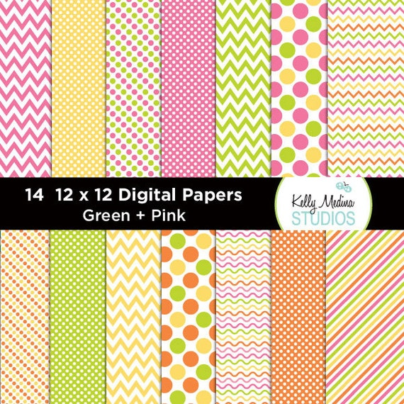 Transportation Green and Pink - Designer Paper Pack - Digital Elements for Cards, Stationery, Backgrounds, Paper Crafts and Products