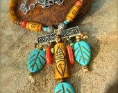 SALE Tribal LEAF NECKLACE Bone Statement necklace Fish Necklace carved bone beads Turquoise necklace Western Native necklace