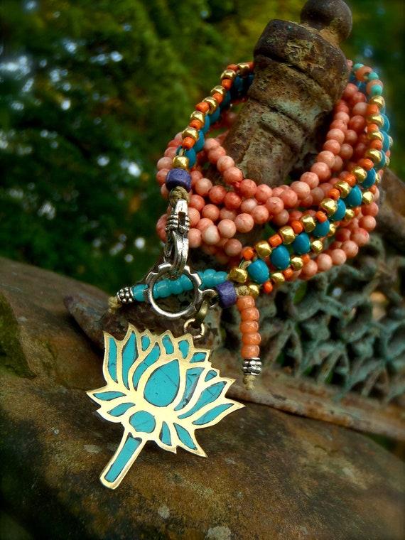 LOTUS BRACELET lotus charm yoga bracelet stackable bracelet gypsy beaded bracelet nomad jewelry gold turquoise wrap bracelet