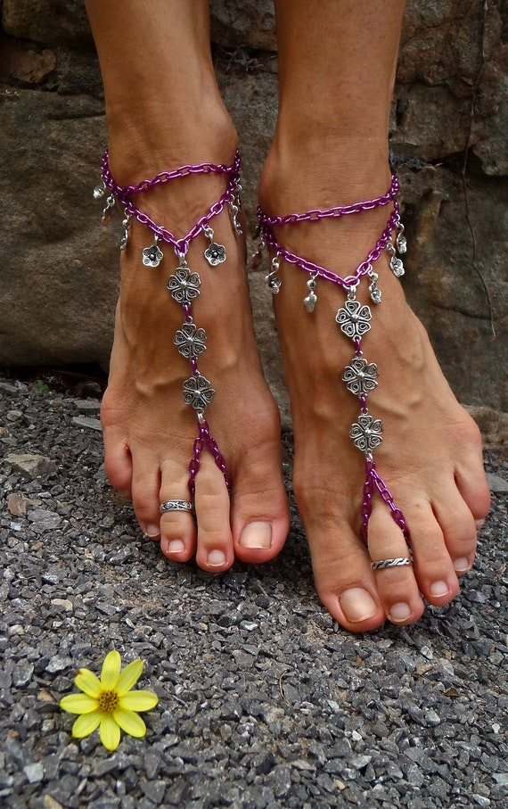 reserved for nikki PINK silver BAREFOOT SANDALS chain slave anklets sole less shoes belly dance sexy feet