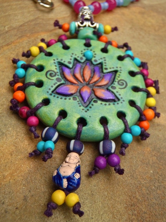 HIPPIE LOTUS necklace BUDDHA charm hand made jewelry bohemian gypsy necklace beaded necklace spiritual necklace