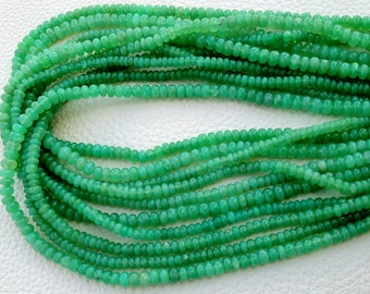 Brand NEW, Rare CHRYSOPRASE Smooth Rondells of Size 4-5mm, Full 14 Inch Long Strand, Very Very RARE Quality at Manufacturers price