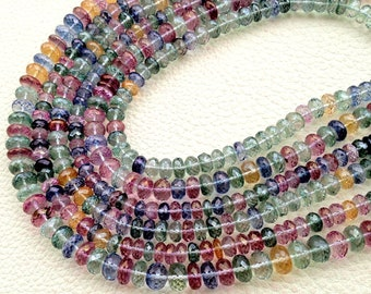 New Stock, Full 14 Inch Strand Mystic MULTI COLORED Quartz Faceted Rondelles, 5-8mm Long,Manufacturers Price