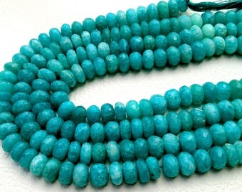 8 Inch Strand, 7-8mm,SUPERB-Quality,Full Strand, AMAZONITE Faceted Rondells,Brand New Stock