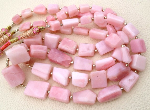 Brand New, Full 9 Inch Strand, 10-15mm size, aaa Quality PERUVIAN PINK OPAL Step Cut Faceted Nuggets,10-15mm size,Amazing Item