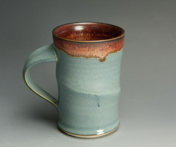 Porcelain handcrafted coffee mug or tea cup soft powder blue 590