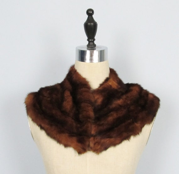 Vintage 1950's Dark Mink Fur Collar Stole Shoulder-Wrap