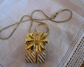 Vintage Gold and Silver Tone Brooch/Pendant of a Christmas Package with Bow