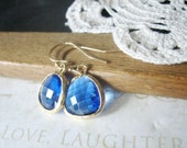 CARIBBEAN brilliant blue glass crystal earrings (gold)