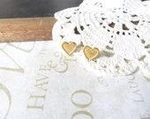LASSO my heart petite brass post stud earrings (nickel-free)