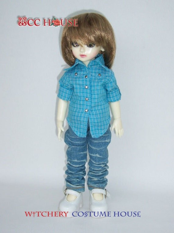 Sheriff Tartan Shirt In Tartan light blue for YO-SD Boy & Girl
