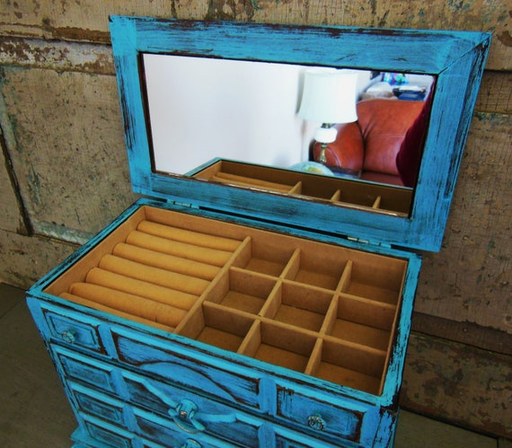 Jewelry Box Turquoise Blue Distressed Wooden