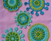 SPOKE & PICOT MOTIFS - crochet pattern, pdf