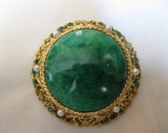 Alice Caviness Large Green, Gold, and Seed Pearl Brooch