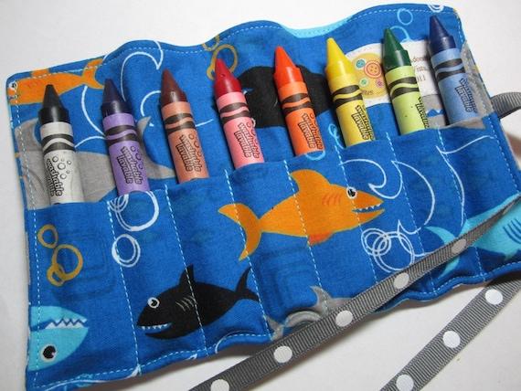 Shark Fabric Crayon Roll - Large Crayons - Washable Crayola Crayons - 8 Count - Boy - Kids - Toddler