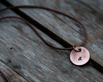 Custom Initial Pendant in Hand Stamped Weathered Copper or Brushed Nickel. Pick Your Initial & Font