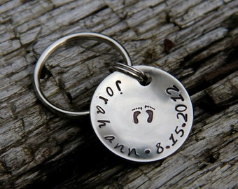 Custom New Baby Footprints Keychain in Brushed Nickel - Personalize with Name & Birthdate